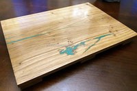Serving tray - European oak with beautiful turquoise inlay