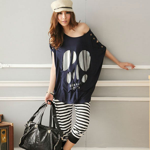 sneakers for cheap quality and quantity assured offer discounts Punk Ladies Batwing Short Sleeve Skull Print Women Casual Loose Oversized T  Shirt Summer Tee T Shirt Blusas Top Black White T Shirst It T Shirt From ...