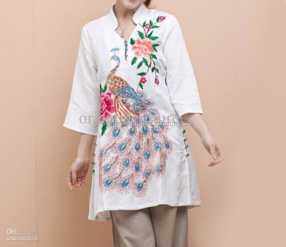 Long tunic top women wear cotton Embroidery blouse indian clothes latest ladies kurta design