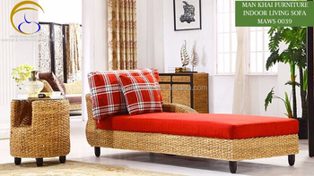 Water Hyacinth Wicker Rattan Chaise Lounge   Indoor Rattan Daybed Living  Room Home Furniture