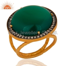Handmade Natural Green Onyx And Cz Gemstone Ring Gold Plated Unique Designer Rings Manufacturer Indian Jaipur Jewelry Supplier