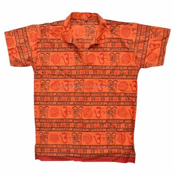 Short Kurta Shirt Casual Gauze Kurta Om Cotton Symbol Hindu Om Hare