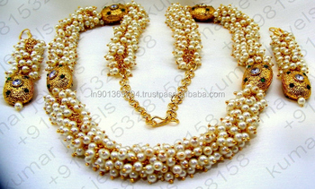 Sleek Simple Pearl Beaded 22kt Gold Plated Indian Traditional