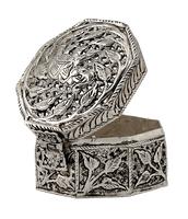 Rajasthani Hotel Home Decor Fine Carving White Metal Jewelry Box ...