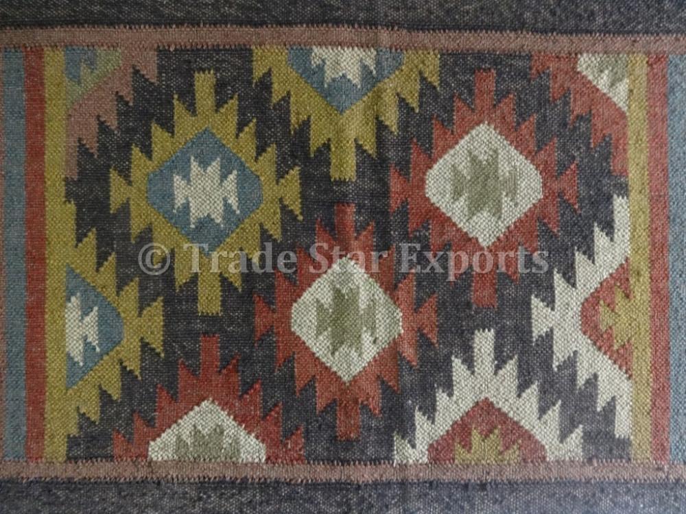 Ethnic Kilim Rug 2x3 Vintage Jute