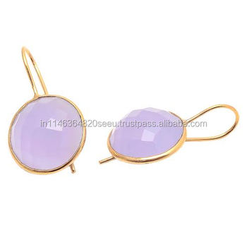 Lavender Chalcedony Earrings Gemstone Gold Round