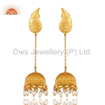 30c249e97 Gold Plated 925 Sterling Silver Traditional Jhumkas Natural Pearl Gemstone Earrings  Manufacturers of Indian Designer Jewellery
