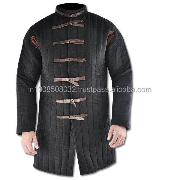 Thick padded medieval aketon BLACK COLOR gambeson armor jacket play theater movies drama SCA LARP REENACTMENT