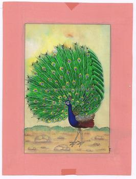 Dancing Peacock Original Water Color Hand Painted Miniature Art Wild Life Scene Painting