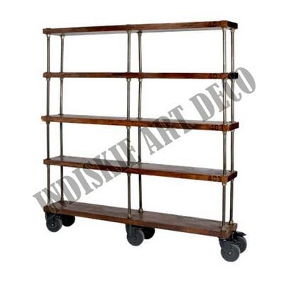 Industriale scaffale con ruote di legno vintage libreria industriale scaffalature industriali - Ruote per mobili vintage ...