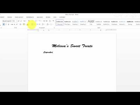 Word Lesson 4 - Managing Documents - Creating Restaurant Menus