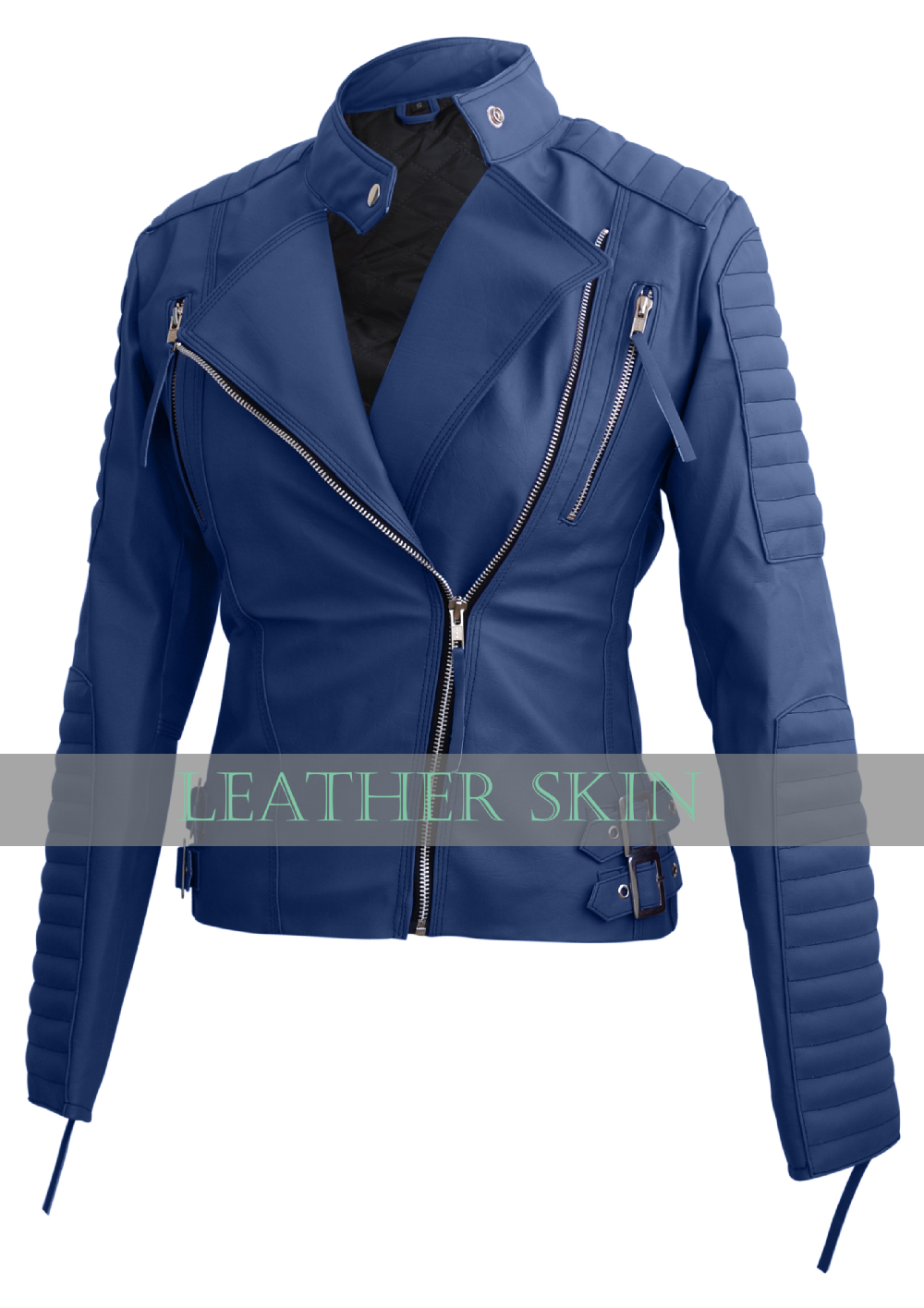 Nwt Women Navy Blue Brando Padded Premium Synthetic Leather Jacket ...
