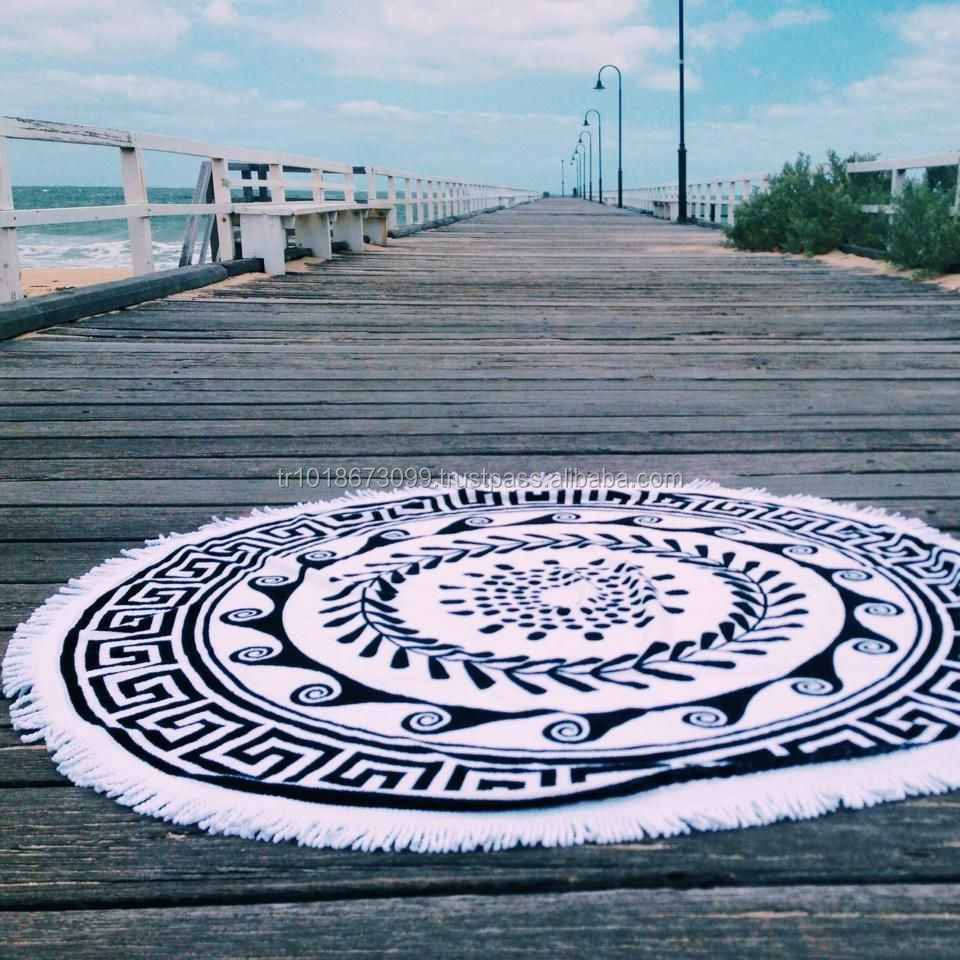 Pentagon, Hexagon or Octagon beach towels with tassels, circle beach towel, The beach people.