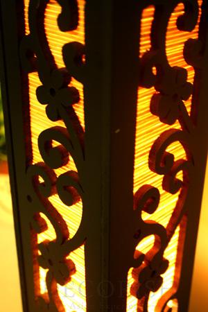 동양 10- 인치 대나무 조각 나무 전기 랜턴 등 테이블 램프 벚꽃 ...