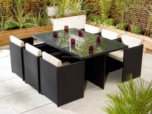 New model 2015 6 People rattan cube garden set dining table and chair poly rattan cube furniture