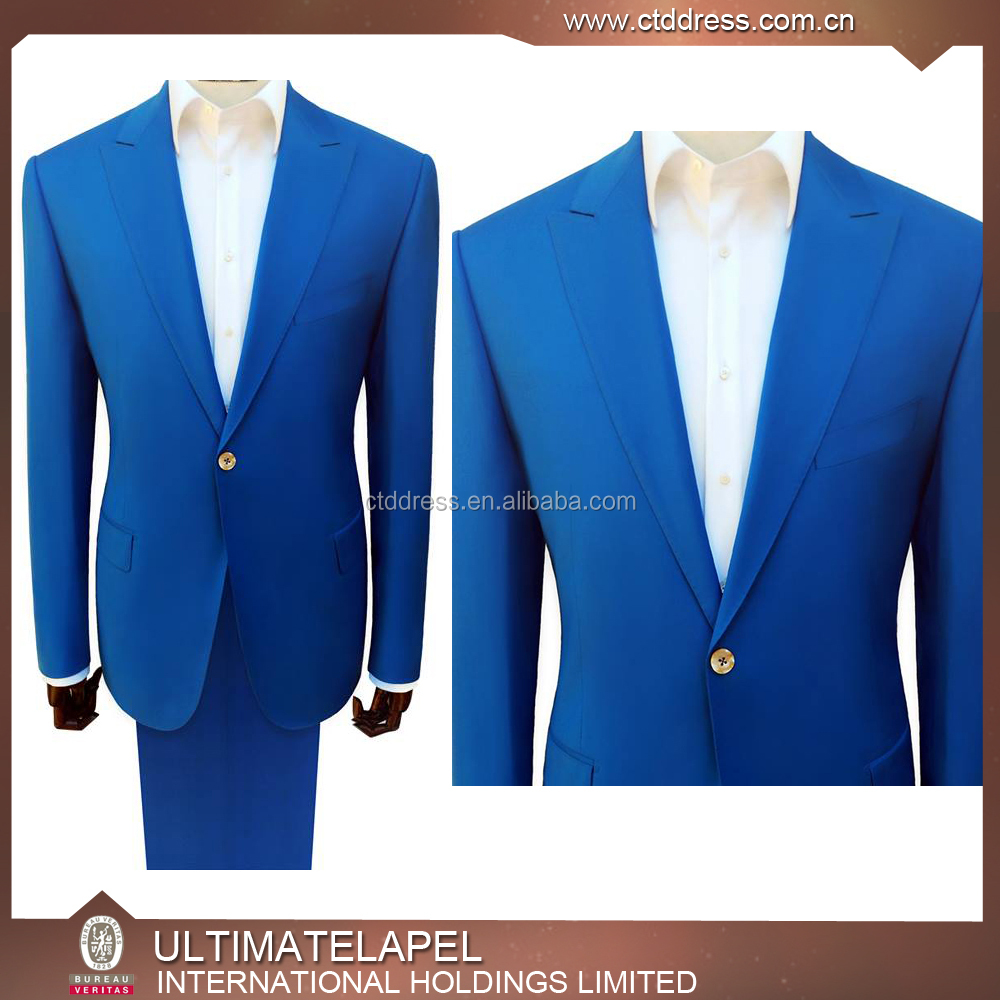 Blue Colour Men Suits,Top Brand Coat Pant Men Suit Design 2015 ...