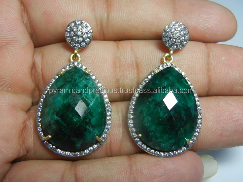 Dyed Emerald Gemstone Pave CZ Set Earring - Gold Plated Sterling Silver Earring