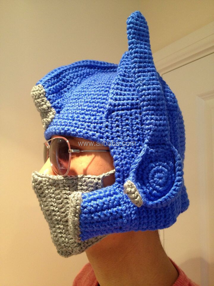 Funky Novelty Mens Hand Crochet Beanie Transformer Optimus Prime Hat Costume 03819059931