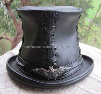 Riveted Black Leather Top Hat With Skull Rivets Band - Unisex Top ... 731aac22061