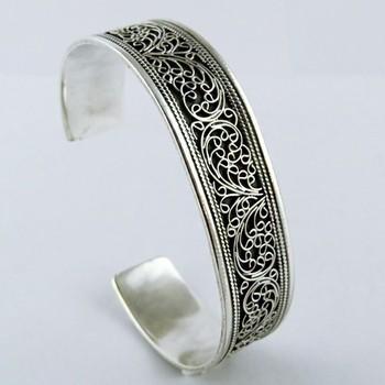 Nice Filigree Oxidized Silver Kada 925 Sterling Silver Bangle
