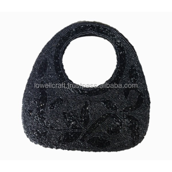 HANDCRAFTED BEADED ROUND HAND BAG