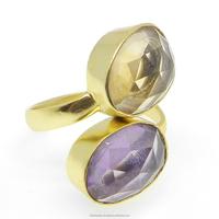 India Gemstone Jewelry - 925 sterling silver - Amethyst - Crystal Quartz - 18k gold plated - Gemstone Designer ring - SIRG1527