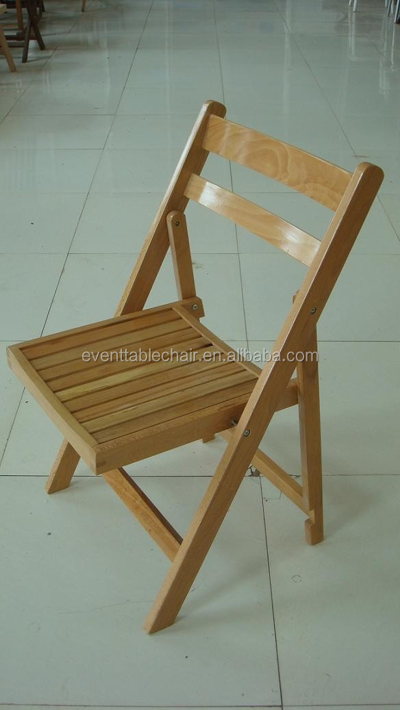 Used Outdoor Padded Wooden Slat Folding Chairs For Sale