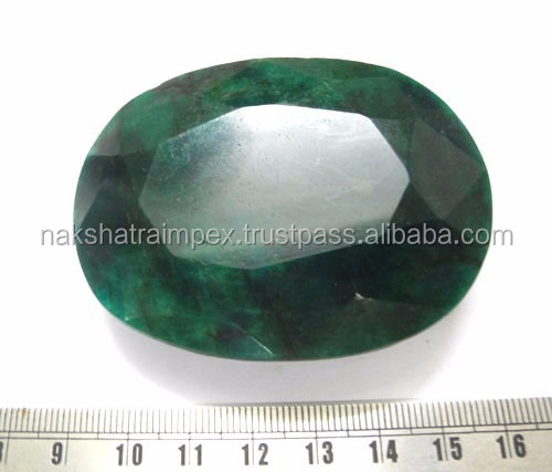 Natural Dyed Dark Green Beryl Oval Cut Loose Gemstone