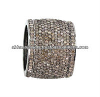 925 Sterling Silver Pave Diamond Handmade Fashion Band Ring For Women