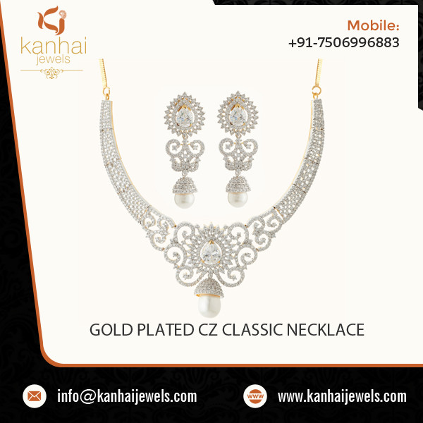 2 Tone Plated Classic Intricately Carved CZ Necklace