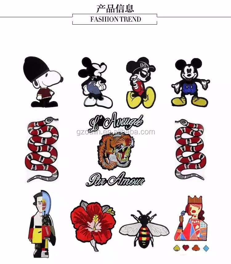 Popular cartoon logo embroidery products new model clothes patches custom embroidery patches