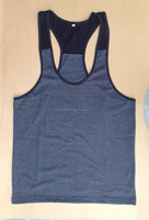 Charcoal & Black Colors Two Tone Gym Bodybuilding Muscle Fitness Singlets Stringer Vests Tank Tops