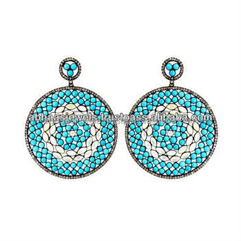 925 Sterling Silver Pave Diamond Turquoise Earrings 14k Gold Pearl
