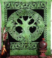Celtic Tree Of Life Tapestry Indian Modern Boho Wall Hanging Throw Decorative Beach Sheet Indian Queen Bedspread