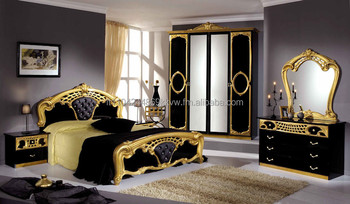 sibillia camera da letto in nero e oro