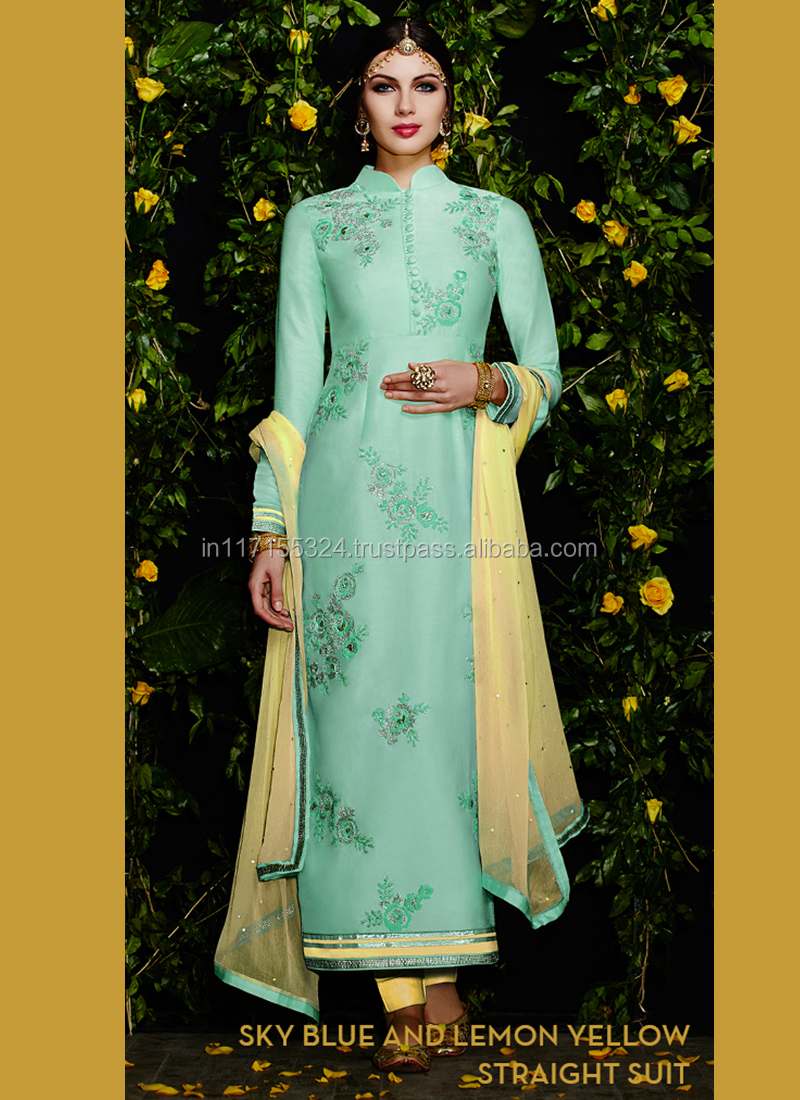 Unstitched Straight Suit Indian Designer Party Wear Dress\indian ...