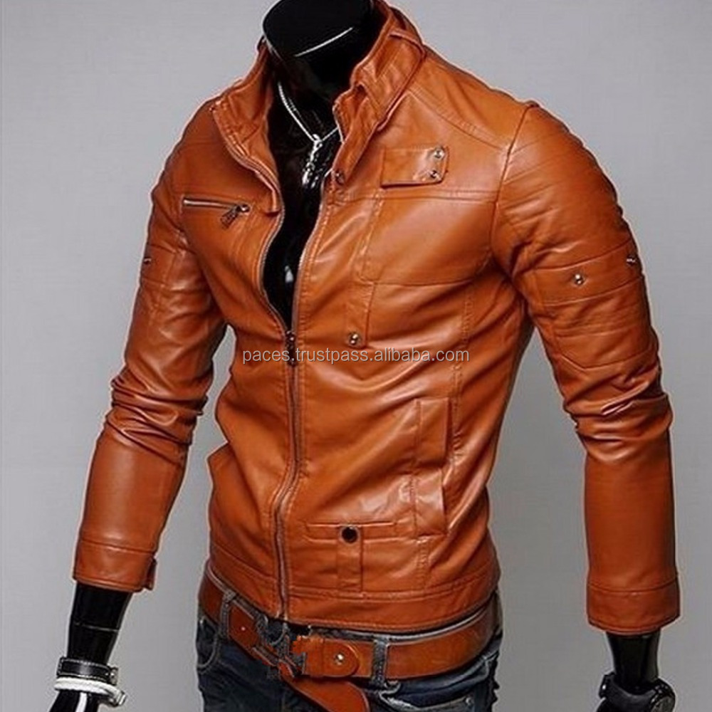 high quality leather man coat & jacket men motorcycle leather jacket & overcoat, men's top coat