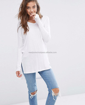 Supplier Custom Striped Women Longline T-shirt Wholesale