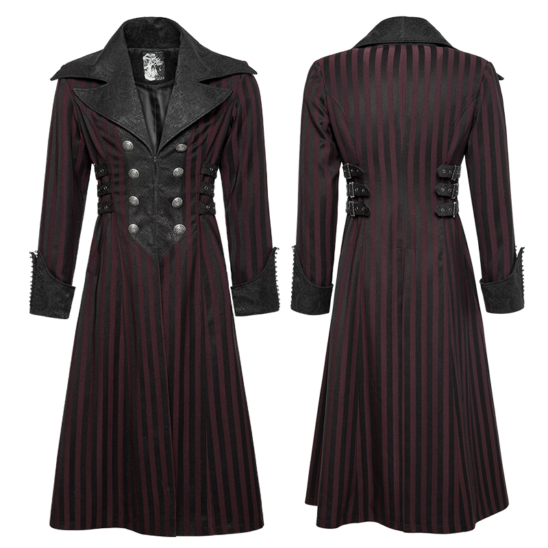 Y-742 Punk Rave Men's black red victorian gothic long coat with big collar