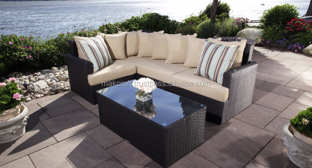 All Weather Capri Sectional Wicker Rattan Outdoor Garden Furniture Corner L Shape Chaise Lounge Living
