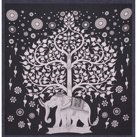 Elephant Decorative Bohemian Hippie 100% Cotton Twin Size Wall Hanging Indian Tapestry