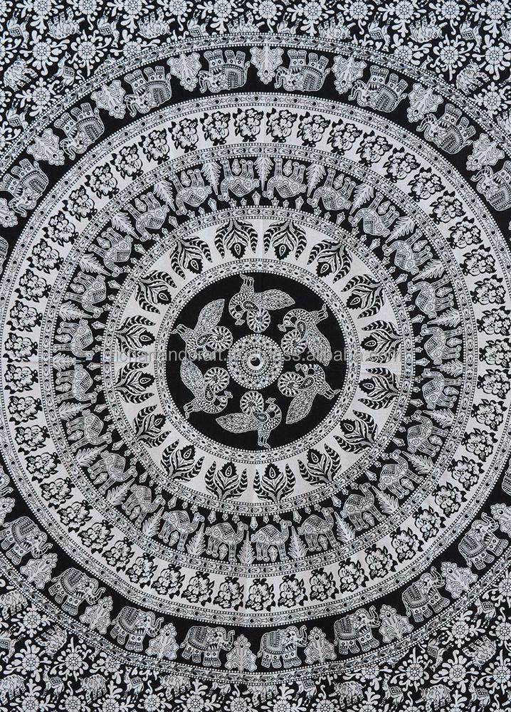 Noir Et Blanc Elephant Mandala Tapisserie Tenture Hippie
