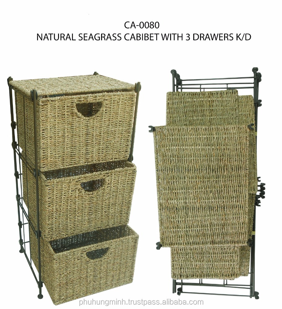 Natural Seagr Cabinet With 3 Drawers