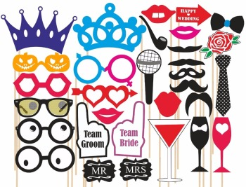 31pcs/Set Photo Booth Wedding Props Mustache Mask Props Party Queen Decoration