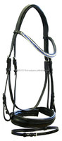 Leather horse crystal bridle English tack