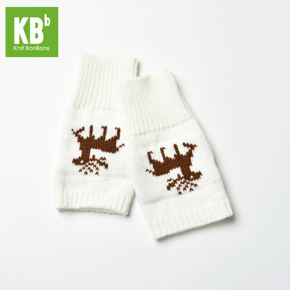 New Design Custom Made Cute 100% Acrylic Jacquard Winter Adult Women Female Teen Girl White Deer Knitted Fingerless Gloves