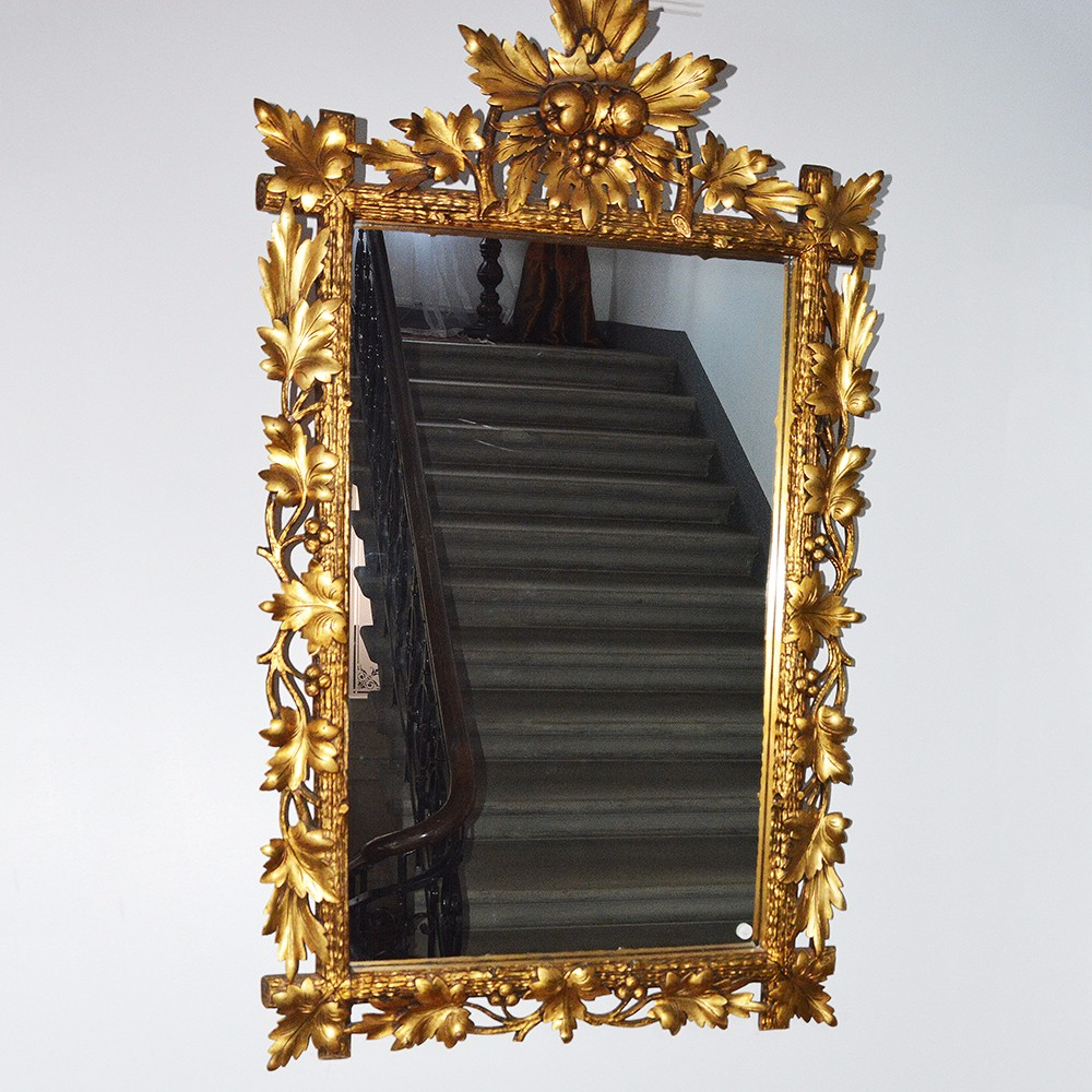 Antique Golden Hand Carved Wooden Wall Mirror - Buy ...