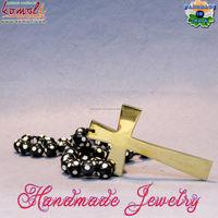 Handmade solid brass mini cross catholic rosary with designer resin bead