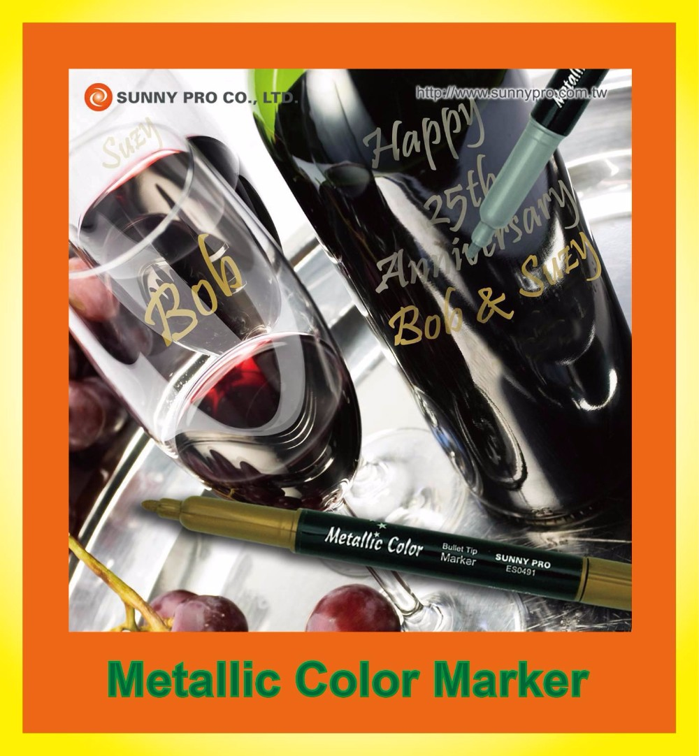 6 pack box Imprinted logo Sale Multi Surface Two nibs Wine Pen