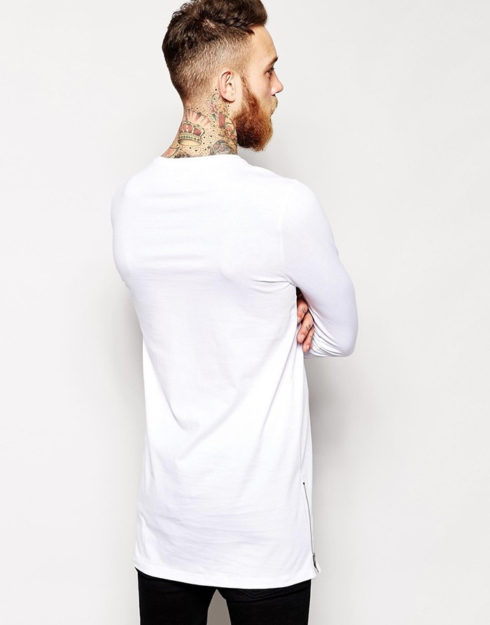 White high quality bulk blank t shirts long sleeve inner Bulk quality t shirts